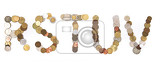 alphabet from old european coins isolated on the white background