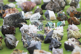 different natural mineral gems collection as nice background