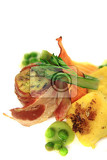 bacon roll with spring vegetable isolated on the white background
