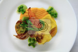 bacon roll with spring vegetable as groumet food