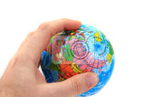 Fotografia world globe in human hand isolated on the white background