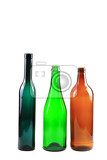 Fotografia empty glass bottles isolated on the white background