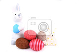 Fotografia easy easter rabbits and eggs  isolated on the white background