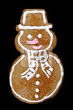 christmas gingerbread snowman isolated on the black background