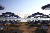 Fotografie greece beach with parasols  nice relax on the sun