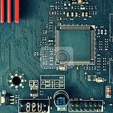 printed circuit board with electrical components background concept for electrical engineering and modern technology