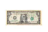 1 dollar with eyes isolated on the white background