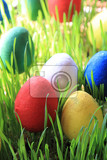 traditional czech easter eggs decorations as holiday  background
