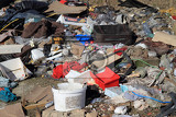 Photo garbage dump in the nature as big ecology problem