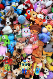 Photo cuddly toys collection as nice color background