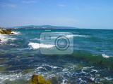 blue bulgarian sea waves near small city kitten