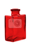 red glass bottle isolated on the white background