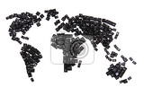 black keyboard keys as world map isolated on the white background