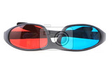 red and blue 3d plastic glasses isolated on the white background