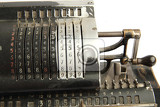 very old calculator isolated on the white background