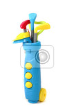 plastic golf set toy isolated on the white background