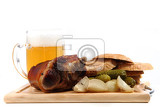 roasted pork knuckle isolated on the white background