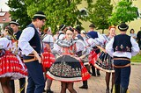 brno  bystrc czech republic june 22 2019 traditional czech feast folk festival girls and boys dancing in beautiful costumes an old christian holiday a day of abundance joy and prosperity