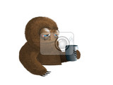 funny illustration tired furry brown creature with cup of hot steaming coffee isolated on white background