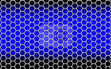 illustration abstract background consisting of white hexagons on a blue background with dark edges