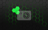abstract background frame filled with dark gray hexagons with green background with 3d effect