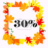 autumn discount white square with inscription 30 framed by colored fallen leaves