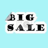 discount illustration white peeled sticker with black inscription big sale on light blue background