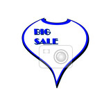 illustrationadvertising sticker on big sale white with blue border izolovaných na bílém pozadí