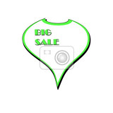 illustrationadvertising sticker on big sale white with green border izolovaných na bílém pozadí