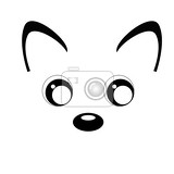 Photo black and white kawaii illustration contour by cute animal face isolated on white background