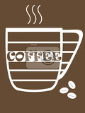 Photo coffee illustration white dashed stylized coffee mug symbol with inscription coffee smoke and three coffee beans on brown background
