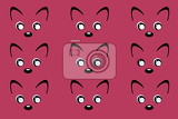 Photo cartoon kawaii illustration repeating cute face on pink background seamless pattern
