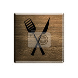 illustration hotel wooden badge with cutlery symbol meals available