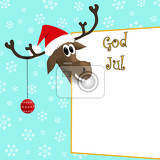 Photo illustration reindeer in red cap with christmas decoration on antler near sign with norwegian inscription merry christmas with snowflakes on light blue background
