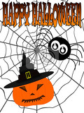 Photo illustration inscription happy halloween with spider on cobweb and carved pumpkin in witch hat