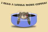 Photo illustration i need a little more coffee sleepy bear in blue cup of coffee