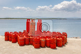 domestic red propane gas bottle on port in nosy be madagascar