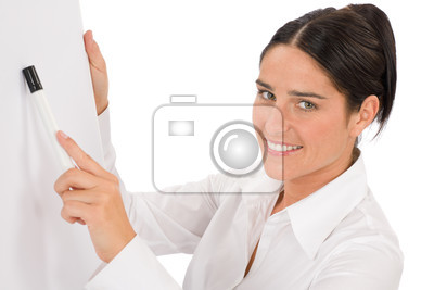 Happy businesswoman pointing at empty flip chart