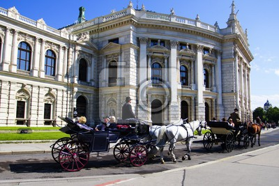 Burgtheater theater, opera, horse, carriage and people. Vienna - Austria.