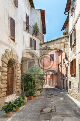 view of a beautiful little street in the old town in tuscany italy
