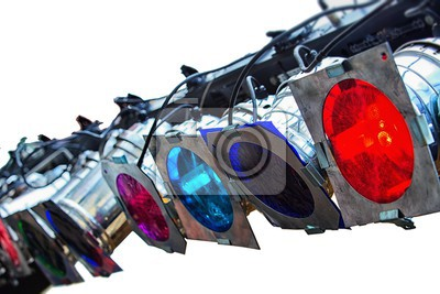 colorful lights studio isolated on white background