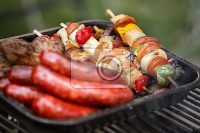 grilled vegetables meat and sausage