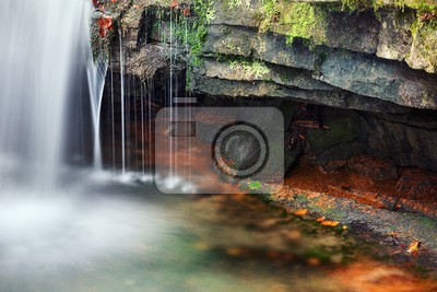 detailed view of a beautiful fresh waterfall