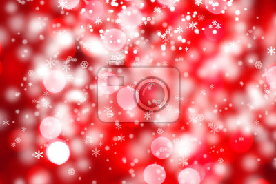 abstract background of christmas red lights with snow
