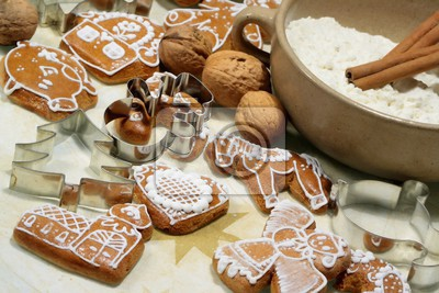 sweet christmas gingerbreads and red christmas decoration