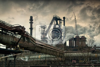 metallurgical works with smoke industrial architecture