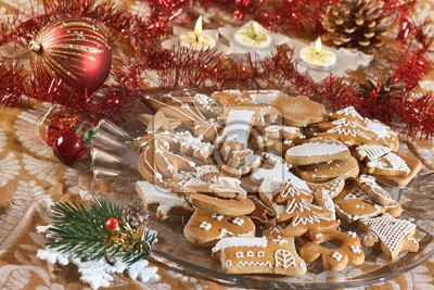 plate full of christmas gingerbreads  sweet food