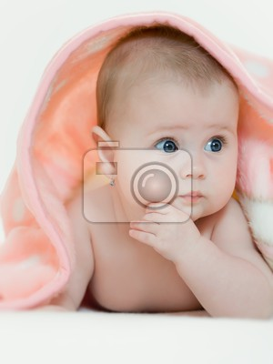 charming baby beautiful baby under pink towel