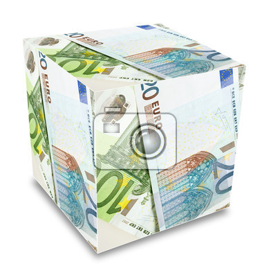 cube from a lot of euro banknotes concept