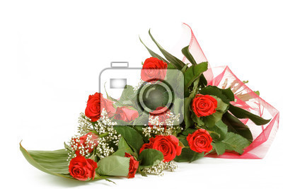 bouquet of fresh red roses on white with space for copy in the side